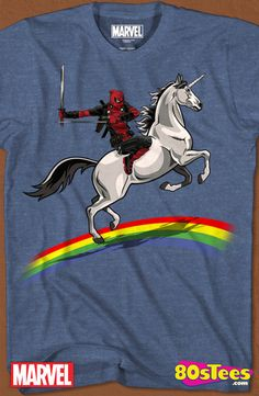 Unicorn and Rainbow Deadpool T-Shirt:   Marvel Geeks:  This Marvel celebrity character has been seen in films and comic books and the design and illustration of the art on this product makes it a must have to your men's fashion t-shirts.