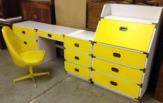 Yellow MidCentury Campaign Style Bedroom Set or by HarrisMarksHome. $695.00 USD, via Etsy.