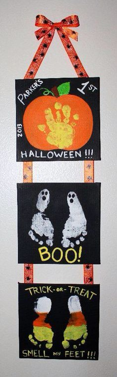 """Mommy & Me"" Halloween project my son Parker and I made of his hand and feet prints. Great keepsake for years to come to remember baby's Halloween and how small they once were. Babys 1st Halloween, Theme Halloween, Halloween Crafts For Kids, Halloween Activities, Holidays Halloween, Holiday Crafts, Holiday Fun, Halloween Decorations, Halloween Canvas"