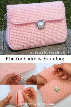 DIY Tutorial How to Make Plastic Canvas Bag Purse Handbag with YouTube Tutorial Video by Sarah Wolfe from Reviews by Sarah