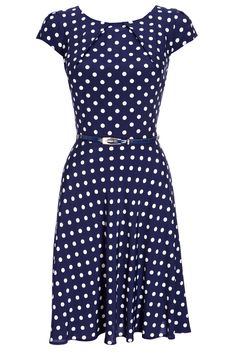 Navy Polka Dot Dress, Wallis