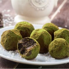 This matcha recipe is perfect when you need a fancy dessert.  These Matcha-Dusted Chocolate Truffles are sure to impress!    http://go.epicmatcha.com/matcha-truffles?utm_source=Pinterest&utm_medium=cpc&utm_campaign=matcha%20chocolate