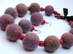 Multi-color felted jewelry set