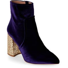 Betsey Johnson Purple Kasey Glitter Heel Velvet Booties ($60) ❤ liked on Polyvore featuring shoes, boots, ankle booties, purple, faux-fur boots, velvet booties, high heel booties, pointed toe booties and purple boots