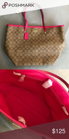 Coach Tote Spacious Purse. Clips shut. Hot pink lining inside as well as handles and tags. Brand New. Offers welcome Coach Bags Totes