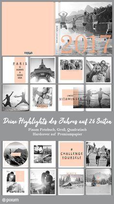 Ein Pixum Fotobuch eignet sich besonders gut dazu, deine schönsten Erinnerungen eines Jahres zusammenzufassen. Dadurch hat man irgendwann eine wunderschöne Sammlung an Fotobüchern zuhause im Regal stehen, die immer wieder zum Stöbern einladen. Dieses Design wurde schlicht in Schwarz-Weiß und Rosa gehalten. In Kombination mit geometrischen Formen und kurzen Texten wirkt das Fotobuch modern und dynamisch. Gestalte jede Seite deines Pixum Fotobuches individuell, schließlich ist auch jede…