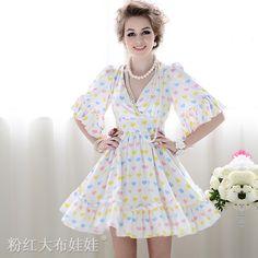 Barato 2016 primavera multicor amor plissado chiffon com decote em V vestido das mulheres, Compro Qualidade Vestidos diretamente de fornecedores da China:                  Bem-vindo à nossa loja                             Todos os produtos não