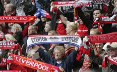 Liverpool fans hold up soccer scarves Liverpool Fans, Liverpool Football Club, Everton, Latte, Scarves, Culture, Baseball Cards, Sports, Long Scarf