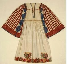 Bridal chemise from Astypalaia island, with heavy monochrome raised embroidery; Gift of Alexandra Choremi. (EE image and text copyright Benaki Museum Greek Traditional Dress, Traditional Fashion, Traditional Outfits, Tribal Costume, Folk Costume, Benaki Museum, Greek Wedding, Costume Patterns, Under Dress