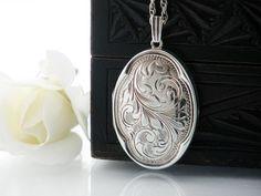 Vintage Sterling Silver Locket Necklace   Engraved Large Oval Locket   1976 English Hallmarks   Quatrefoil - 18 Inch Sterling Chain Included