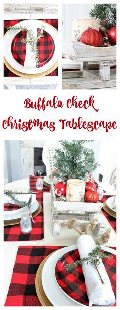 Buffalo Check Christmas Tablescape. Christmas decoration for the table.