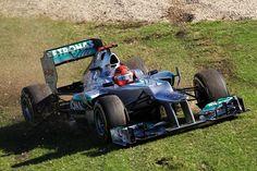 Michael Schumacher (GER) takes a trip across the grass at Albert Park