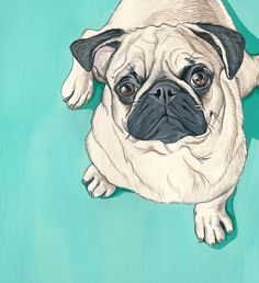 Pug Art Print, Pug Art for the home  This is a listing for a print of my original painting of a Pug  This is the first in a series of prints Ill be