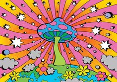 hippie painting ideas 516858494738469622 - Psilocybin and Magic Mushrooms: Next Health and Legalization Trend After Cannabis? Bedroom Wall Collage, Photo Wall Collage, Collage Art, Picture Wall, Wall Art, Hippie Painting, Trippy Painting, Hippie Drawing, Pink Painting