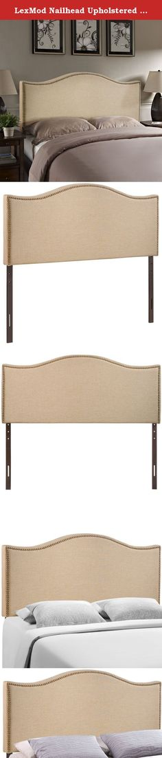 LexMod Nailhead Upholstered Queen Headboard in cafe. Wavy lines and a welcoming design make the Curl headboard series a selection of elegance. Upholstered in fine linen with a fashionable nail button trim, Curl shows off the best of modern design with a fluid style that speaks volumes. Made from particleboard with solid wood poles, Curl makes it easy to curl up to while pleasantly supported by this perfect centerpiece for your bedroom. Set Includes: One - Curl Nailhead Trim Headboard…
