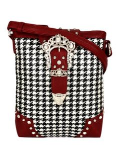 bc2bf2d50df3  13.75 Houndstooth and Red Belt Buckle Crossbody Bag