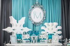 Dream Makers Events & Party Rentals 's Birthday / Winter Wonderland - Photo Gallery at Catch My Party Winter Birthday Parties, Kids Birthday Themes, Frozen Birthday Party, Frozen Party, Winter Wonderland Birthday, Christmas Wonderland, Baby Girl First Birthday, Baby Shower Winter, Winter Theme