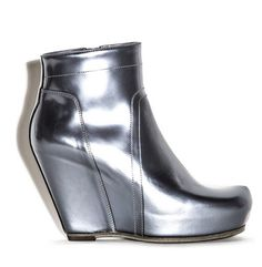 silver wedge boots : rick owens