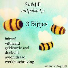 Zomers pakketje met alle materialen en duidelijke werkbeschrijving met foto's om zelf bijtjes te vilten!