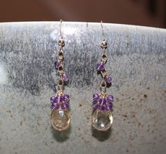 Mystic Peach Quartz and Amethyst Cluster 14k Gold Filled Earrings