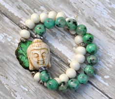 Green Jade Buddha Beaded Bracelet
