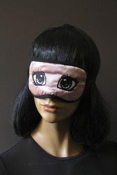 Masque de nuit masque confort satin vieux rose brodé yeux Anime molleton coton double épaisseur doublé