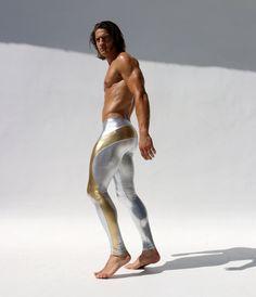 ファッショナブルで機能的。たくましい肉体を際立てるデザイン!。RufSkin/ラフスキン PORTALET メタリック アスレチックパンツ スポーツウェア メンズ ロングスパッツ ストレッチ