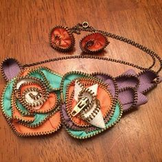 Bib Necklace and Earrings from Recycled Zippers by SomeCallMeQ
