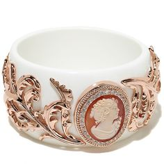 "AMEDEO NYC® ""Rococo"" Cameo Rosetone Vine-Design White Resin Bangle Bracelet"