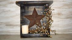 primitive decor pictures | Rustic Country Primitive Decor, Wood Shelf & Antiqued Star