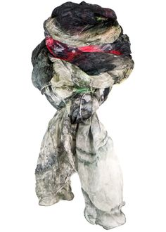 By Birdie Silketørklæde - Silk Art Scarf - Graffiti Meets Ancient Terraces – Acorns