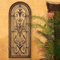 Mediterranean-Wall-Panel-Grille-Italian-Tuscan-Window-Arch-Garden-Gate-Iron-New