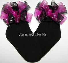 Girls Pageant Glitzy Shocking Pink & Black Organza Bow Socks Full & Frilly Bows Hand Set Embellished with Clear Rhinestone Crystals. Bows Are Sewn to Side Cuff Black Socks. Socks Cotton/Lycra/Nylon Bl