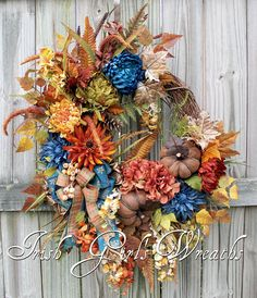 Tuscan Autumn Peacock Teal Beauty Wreath Rust Ivory brown