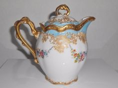 LS&S Limoges Antique Teapot Hand Painted France Floral Gold Gilt #LSS