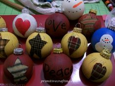 Glass Ornament Makeover! Country/ Primitive Style. Beautiful and easy.