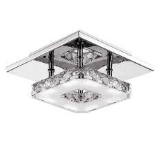 Modern LED 12W Crystal Pendant Light Corridor Stainless Steel Ceiling Lamp Fixture AC85-260V