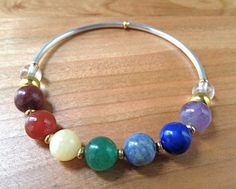 7 Chakra Bracelet with gemstones, gold & silver tone accents by LarisJewelryDesigns, $25.00