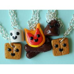 Smores and Campfire Friendship Necklaces for 5 Best Friends ($75) ❤ liked on Polyvore