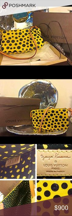 Limited editionAuth Louis Vuitton Yayoi Kusama Authentic LIKE NEWYayoi Kusama limited edition vernis infinity dots pochette. Strap has honey patina & slight wrinkling from storing but other than that No visible signs of wear or use. Comes in box w paper & ribbon! No odor!  ✨Limited edition bags✨only increase in value as time goes and they get harder to find. Retail & TV worth $1305 plus tax.  Open to trade & offers!Selective trades w/trusted users. Thanks! Louis Vuitton Bags Shoulder Bags