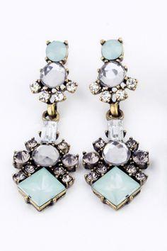 Tiered Drop Crystal Earrings Blue