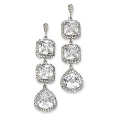 Sterling silver 4-piece dangling earrings. Each piece consists of 2 radiant cut square cubic zirconias and single pear shape cubic zirconia in halo settings.