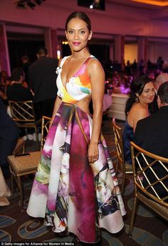 Blooming lovely: Actress Lesley-Ann Brandt wowed in a colorful cut-out gown...
