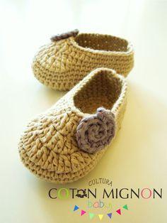 Paso a paso: Zapatitos crochet bebe cultura coton mignon