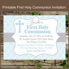 This product is a digital file. I will personalized it for you. Here is how it works: This is a digital file that will be sent to you upon purchase for you to print. When ... #etsy #religious #sacrament #invitations