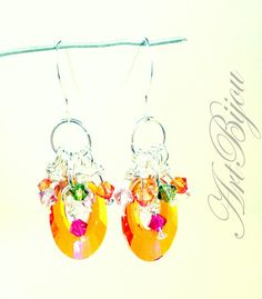 Dangle Earrings – Silver Earrings, Swarovski Crystal Earring, Orange – a unique product by ArtBijou on DaWanda