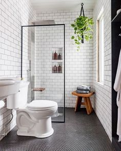 We can't get enough of this black and white industrial bathroom transformation b. - We can't get enough of this black and white industrial bathroom transformation by - Small Bathroom Decor, Bathroom Inspiration, Bathroom Decor, Industrial Bathroom, Small Bathroom Remodel, Bathrooms Remodel, Bathroom Transformation, Bathroom Design Small, Bathroom Renovations
