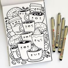 Kawaii coffee sketchbook drawing for IF Draw A Week by Kate . Kawaii coffee sketchbook drawing for IF Draw A Week by Kate Hadfield Pencil Art Drawings, Art Drawings Sketches, Easy Drawings, Fun Sketches, Cute Little Drawings, Cute Kawaii Drawings, Cool Art Drawings, Art Illustrations, Cute Doodle Art