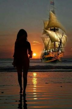 """She hears him say """"Brandy, you're a fine girl""""""""What a good wife you would be""""""""But my life, my love and my lady is the sea"""" """" Old Sailing Ships, Ship Paintings, Boat Painting, Boat Art, Ship Art, Tall Ships, Beautiful Sunset, Nature Pictures, Beautiful Landscapes"""