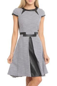 """Houndstooth Dress in ivory, navy & black by Julia Jordan $226 - $70 at BeyondTheRack/ $69 @ Modnique. Vegan leather detailing throughout. Zipper closure at back. Hip pockets. Model is Wearing Size: 4. 100% Cotton. Model Meas: 5'7.5"""" Height, 23"""" Waist, 33"""" Hips, 32"""" Bust."""